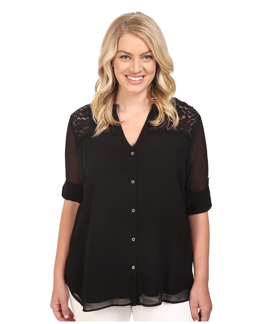 Calvin Klein Plus - Plus Size Roll Sleeve Blouse w/ Lace Yoke (Black) Women's Blouse plus size,  plus size fashion plus size appare