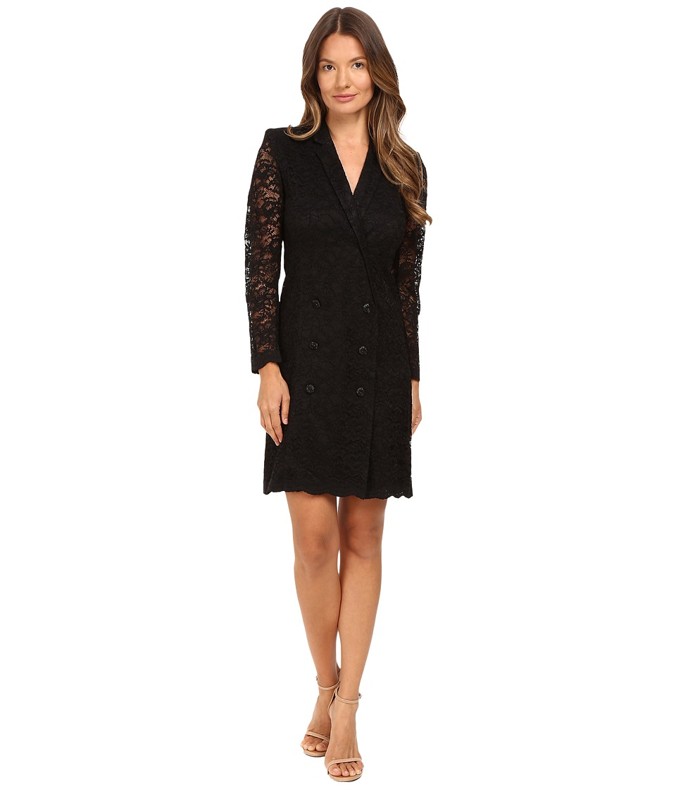 The Kooples - Jacket Style Wrap-Around Dress in Lace (Black) Women's Dress