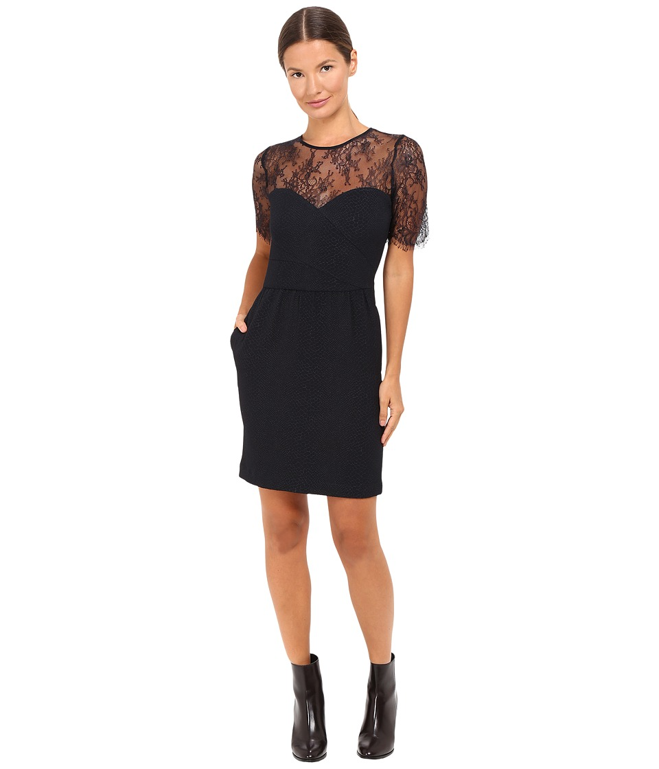 The Kooples - Dress in Textured Crepe and Lace Inserts (Navy) Women's Dress