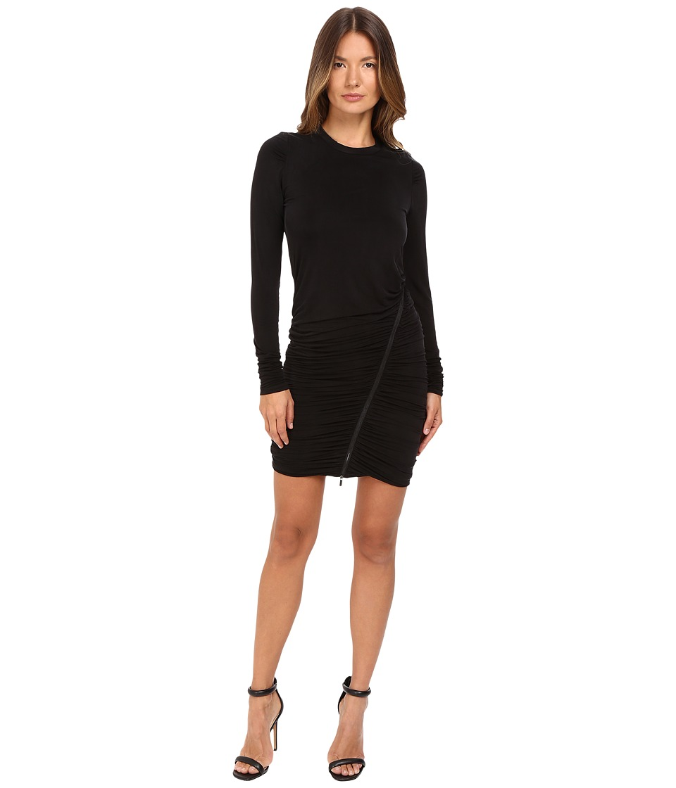 The Kooples - Long Sleeve Dress Round Neck Zip Along the Skirt (Black) Women's Dress