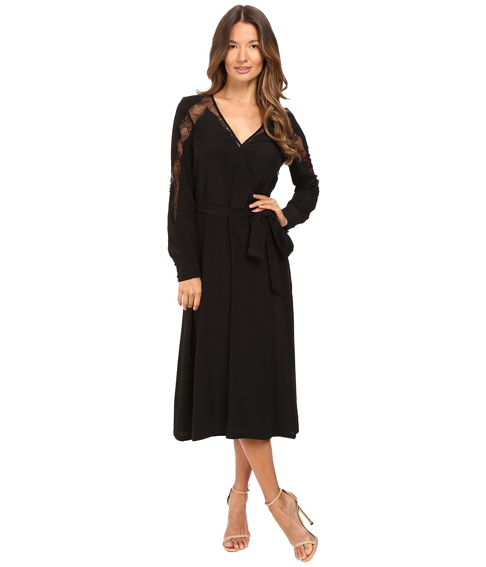 The Kooples - Silk Dress with Lace Overlay (Black) Women's Dress