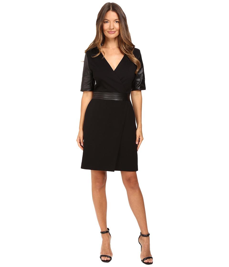 The Kooples Short V-Neck Dress Leather Sleeves and Belt (Black) Women