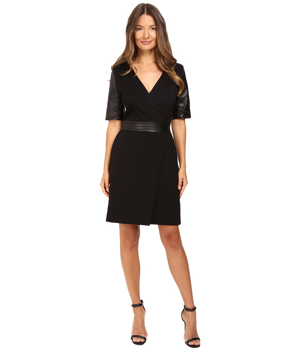 The Kooples - Short V-Neck Dress Leather Sleeves and Belt (Black) Women's Dress