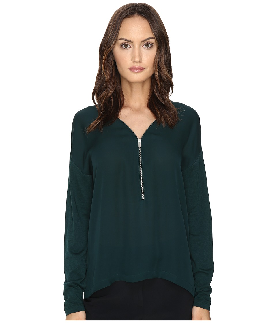 The Kooples - Long Sleeve T-Shirt Front Zip (Green) Women's T Shirt