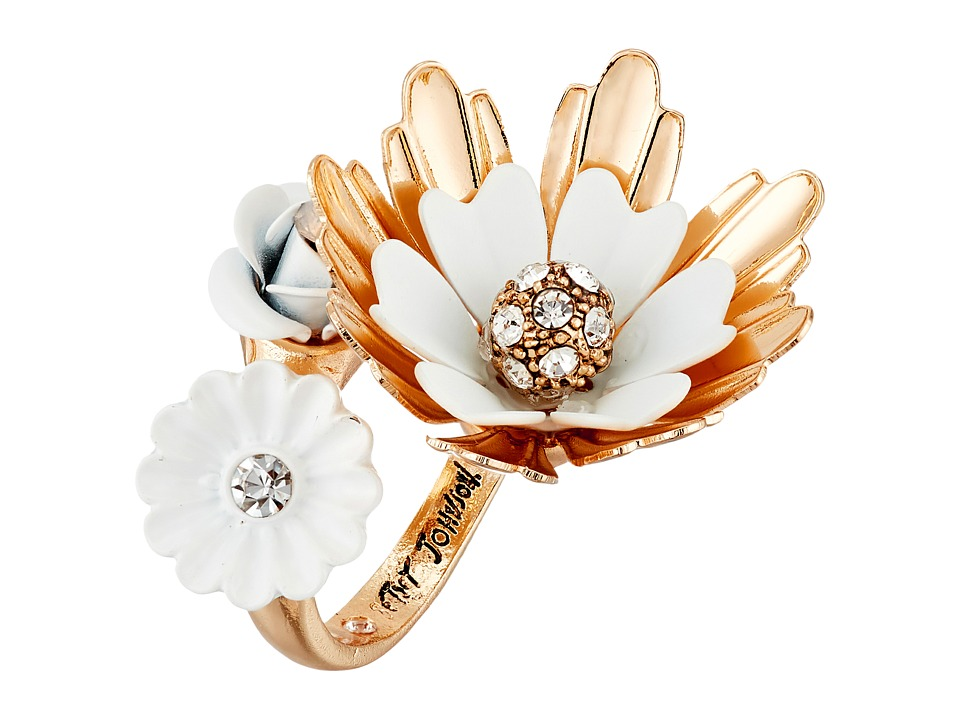Betsey Johnson - Dream of Betsey Flower Bypass Ring (White) Ring