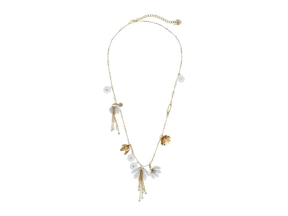 Betsey Johnson - Dream of Betsey Long Charm Necklace (White) Necklace