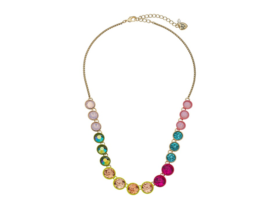 Betsey Johnson - Calypso Multi Stone Frontal Necklace (Multi) Necklace