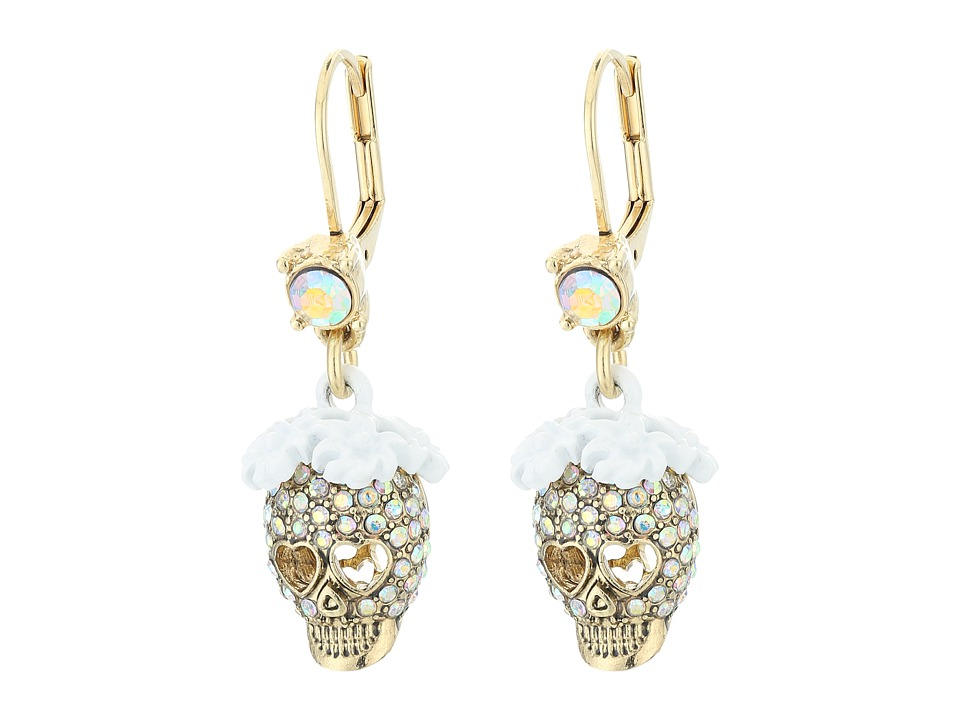 Betsey Johnson - Dream of Betsey Skull Drop Earrings (White) Earring