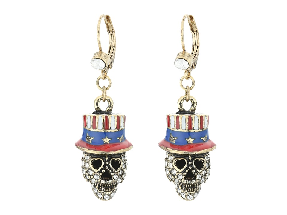 Betsey Johnson - Americana Skull Drop Earrings (Red/White) Earring