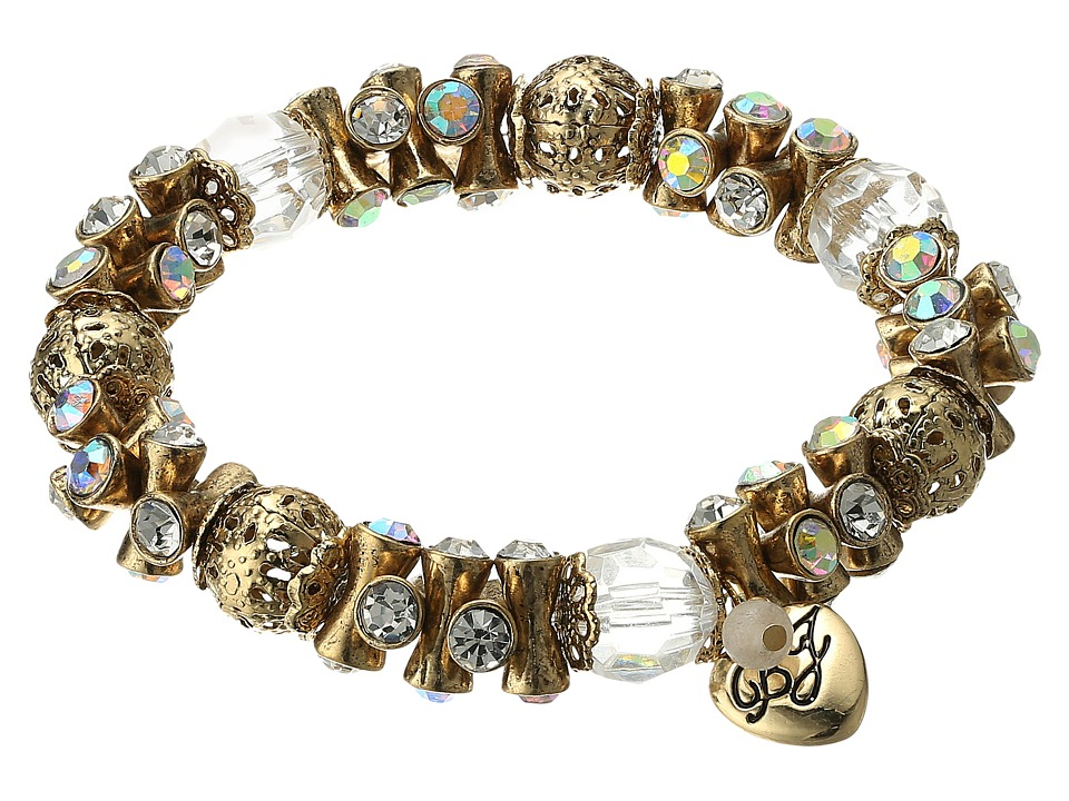 Betsey Johnson - Throwback Betsey Gold Stretch Bracelet (Crystal) Bracelet