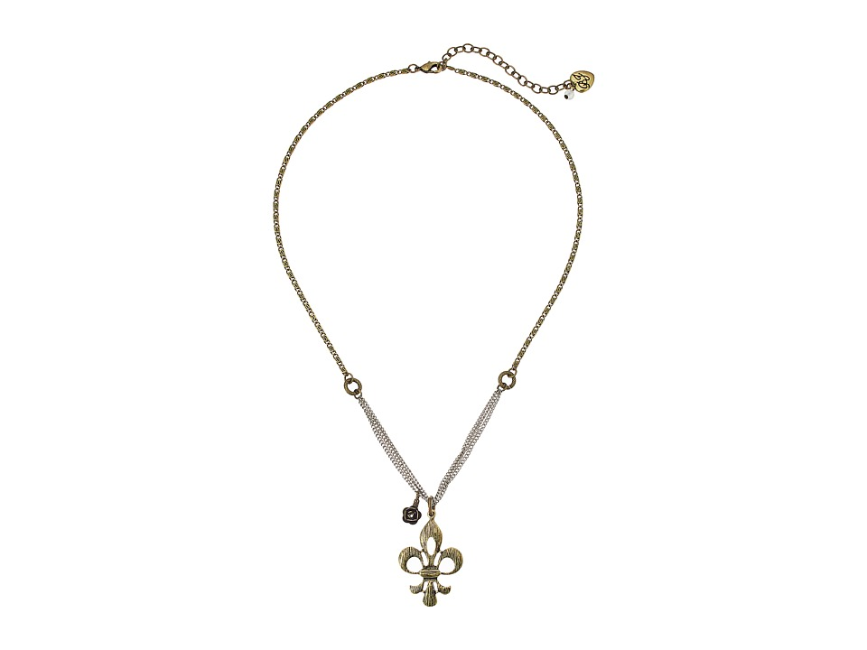 Betsey Johnson - Throwback Betsey Fleur De Lis Necklace (Mixed Metal) Necklace