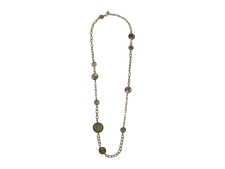 Betsey Johnson - Throwback Betsey Coin Long Necklace (Brass Ox) Necklace
