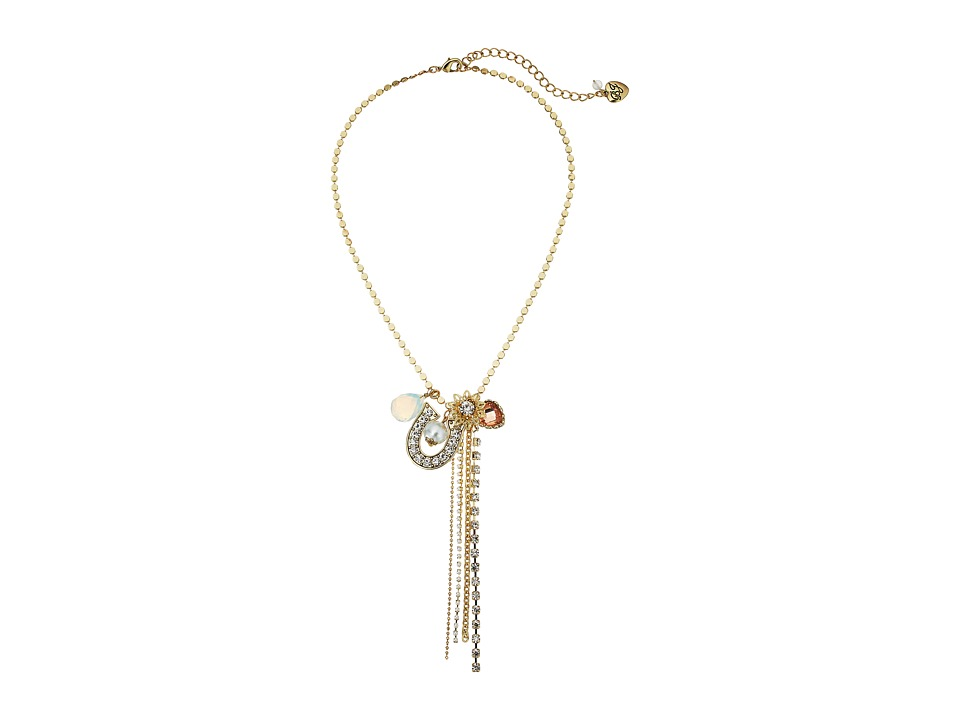 Betsey Johnson - Throwback Betsey Charmy Y-Necklace (Crystal) Necklace