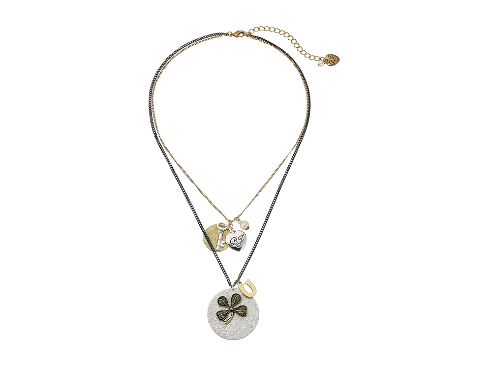Betsey Johnson - Throwback Betsey Charmy Double Pendant (Crystal) Necklace