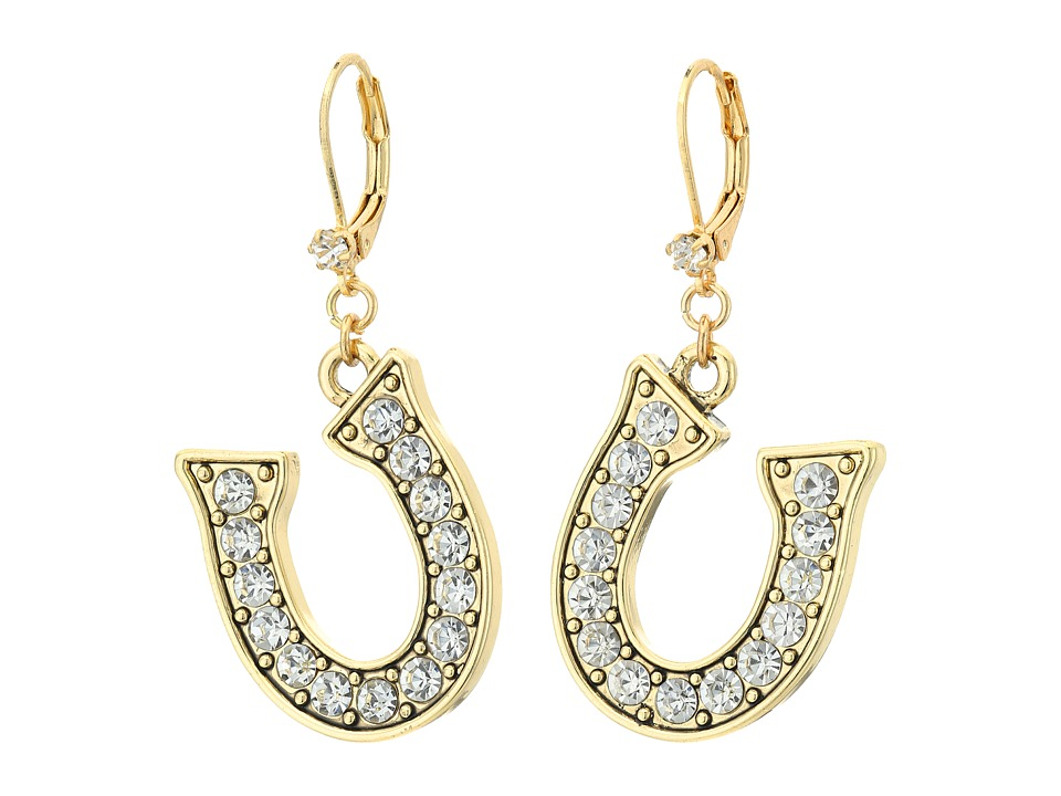 Betsey Johnson - Throwback Betsey Horseshoe Drop Earrings (Crystal) Earring