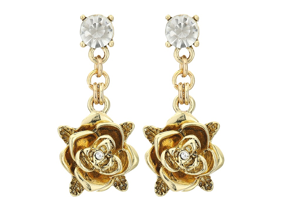 Betsey Johnson - Throwback Betsey Rose Drops (Crystal) Earring
