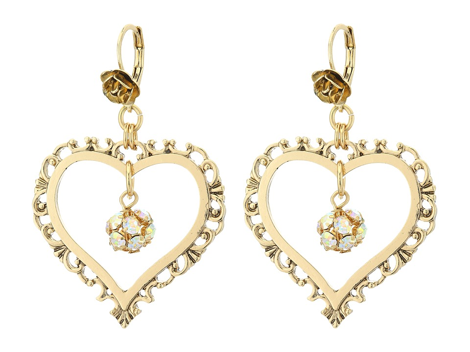 Betsey Johnson - Throwback Betsey Large Heart Earrings (Crystal) Earring