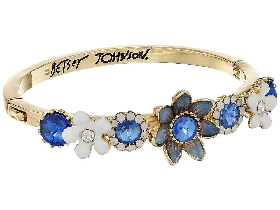 Betsey Johnson - Blue Floral Hinge Cuff Bracelet (Blue Multi) Bracelet