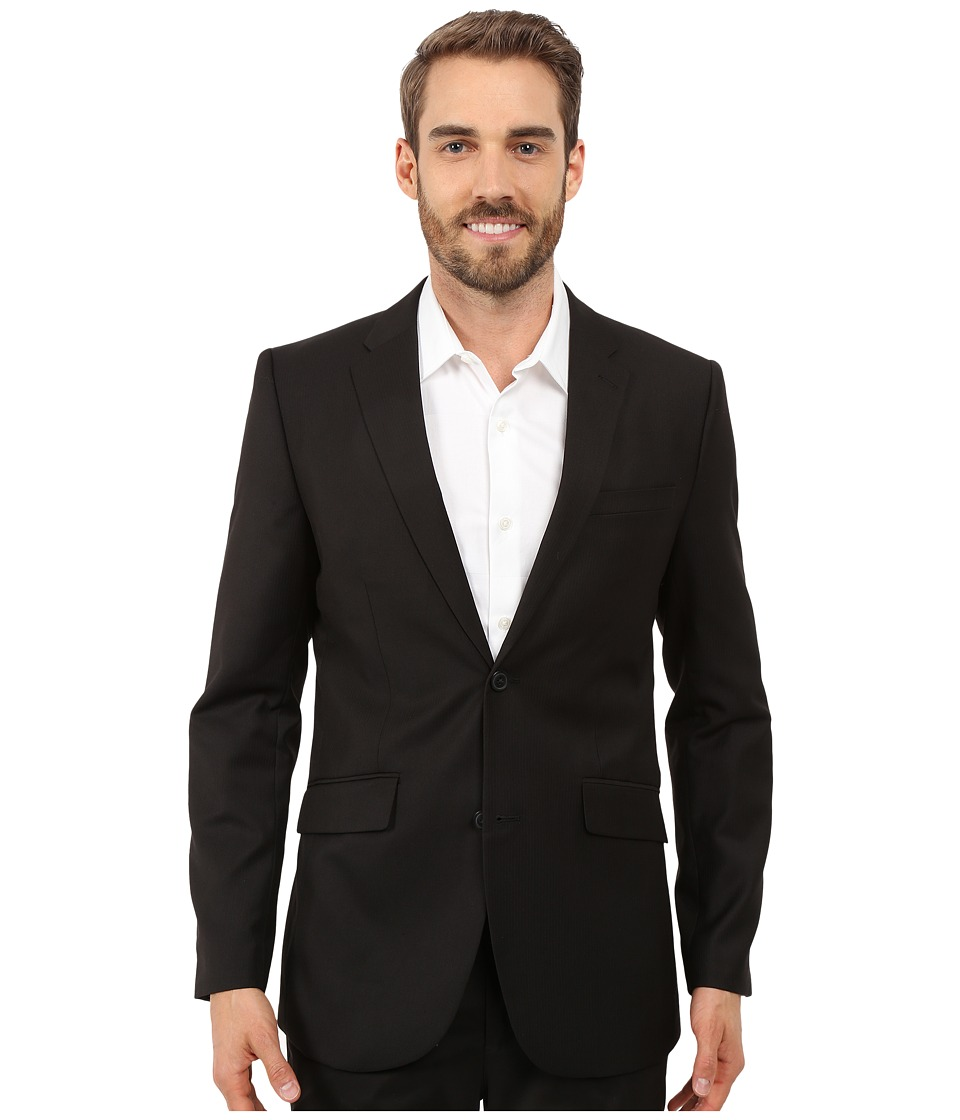 Perry Ellis - Slim Fit Stripe Twill Suit Jacket (Black) Men's Jacket