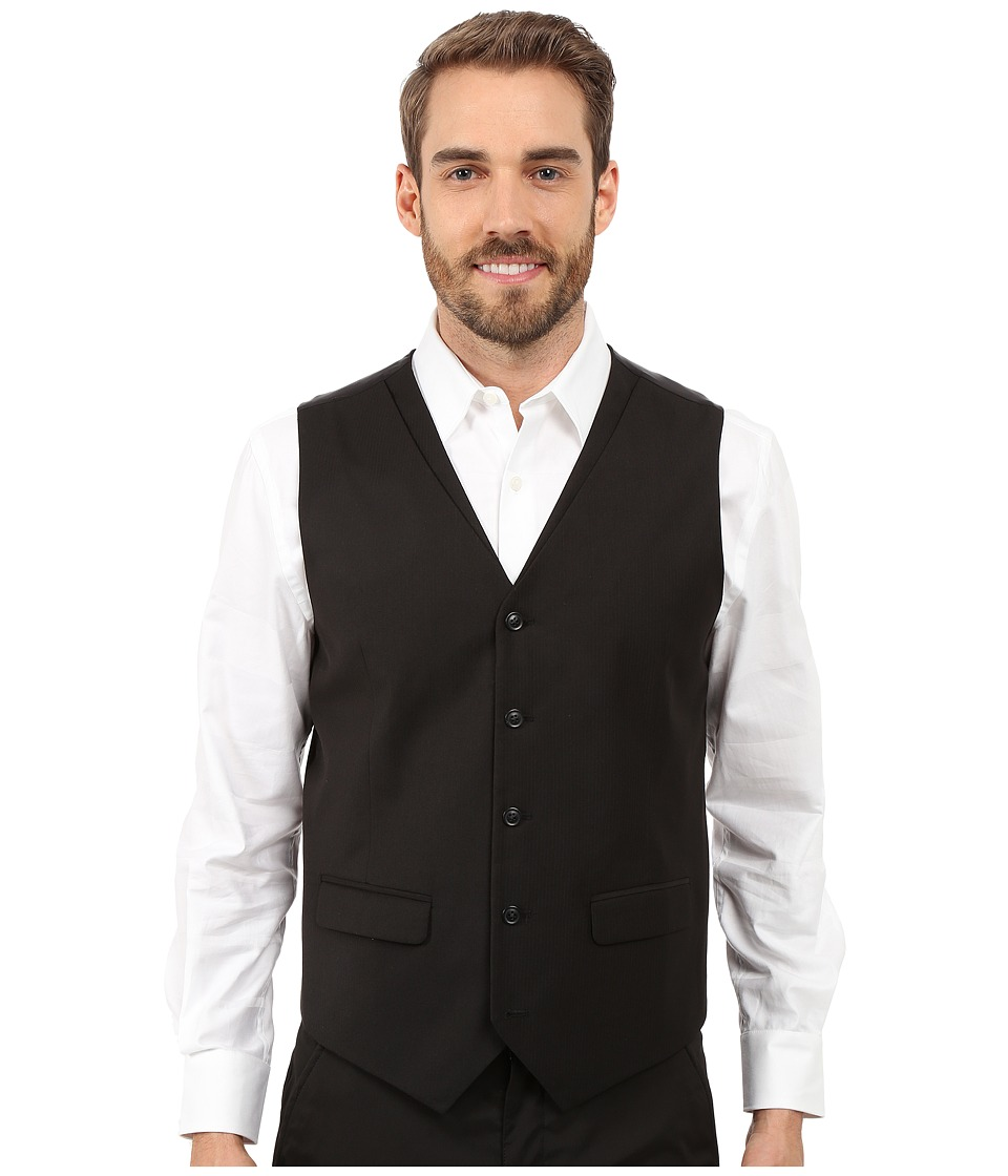 Perry Ellis - Solid Twill Stripe Suit Vest (Black) Men's Vest