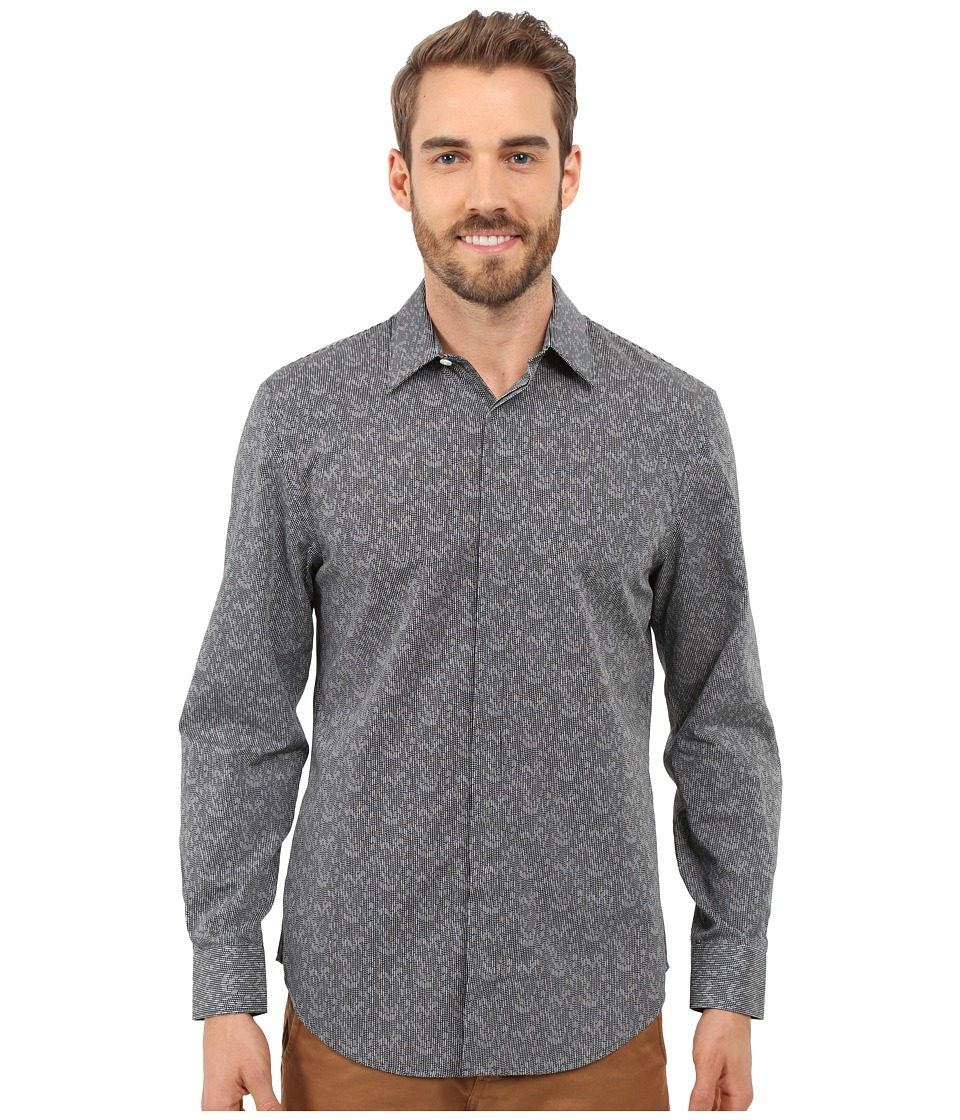 Perry Ellis - Exclusive Geo Print Shirt (Black) Men's Long Sleeve Button Up