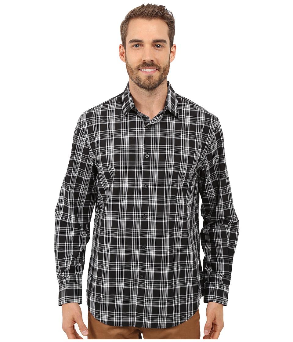 Perry Ellis - Large Plaid Pattern Shirt (Black) Men's Long Sleeve Button Up