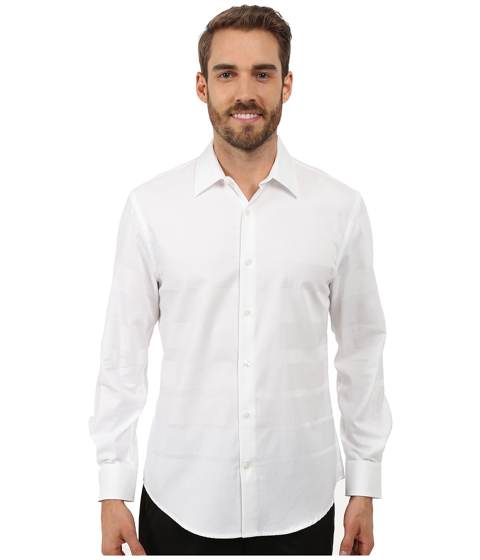Perry Ellis - Engineered Solid Stripe Pattern Shirt (Bright White) Men's Long Sleeve Button Up