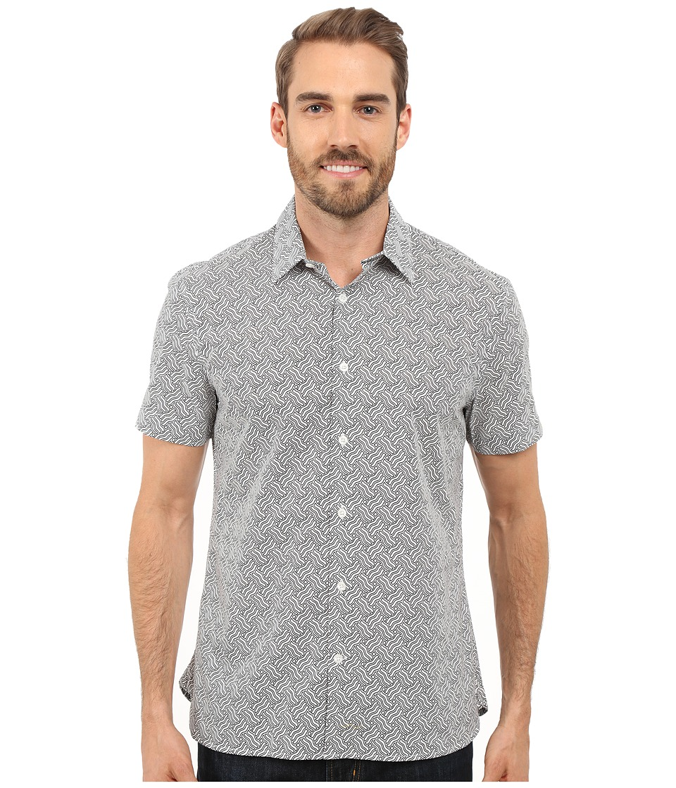 Perry Ellis - Exclusive Wave Print Shirt (Bright White) Men's Short Sleeve Button Up