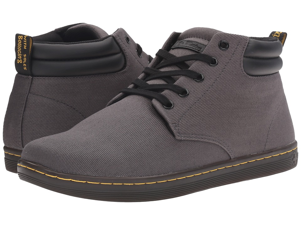Dr. Martens - Maleke Padded Collar Boot (Lead Overdyed Twill Canvas) Men's Pull-on Boots