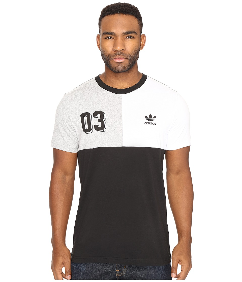 adidas Originals - Bold Panel Graphic Tee (Black/White/Medium Grey Heather) Men's T Shirt
