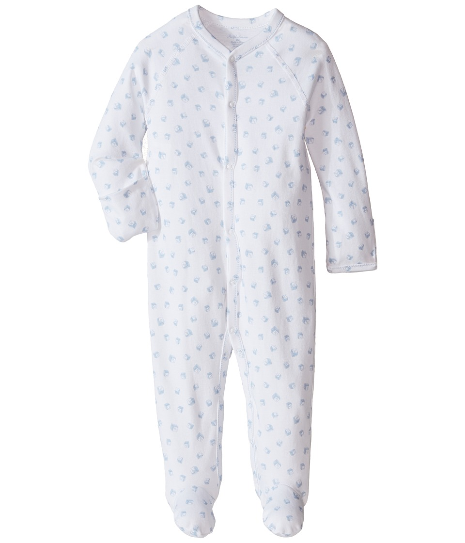 Ralph Lauren Baby - Printed Interlock Block Coveralls (Infant) (White Multi/Pearl Blue) Boy's Overalls One Piece