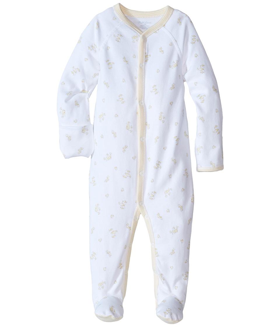 Ralph Lauren Baby - Printed Interlock Neutral Coveralls (Infant) (White Multi/French Yellow) Boy's Overalls One Piece