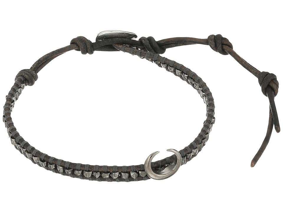 Chan Luu - 6' Silver Nugget on Beige Leather Single with Horn Accent Bracelet (Gunmetal/Natural Grey) Bracelet
