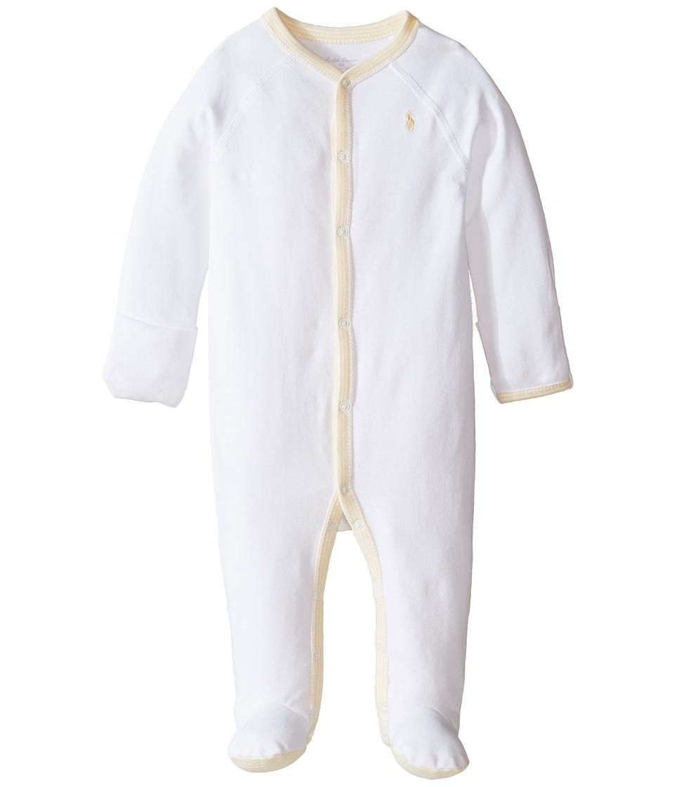 Ralph Lauren Baby - Interlock Solid Coveralls (Infant) (White) Boy's Overalls One Piece