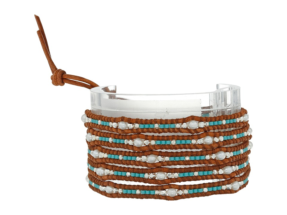 Chan Luu - 32' Freshwater Pearl Wrap Bracelet with Seed Beads and Sterling Silver Accents (Turquoise Mix) Bracelet