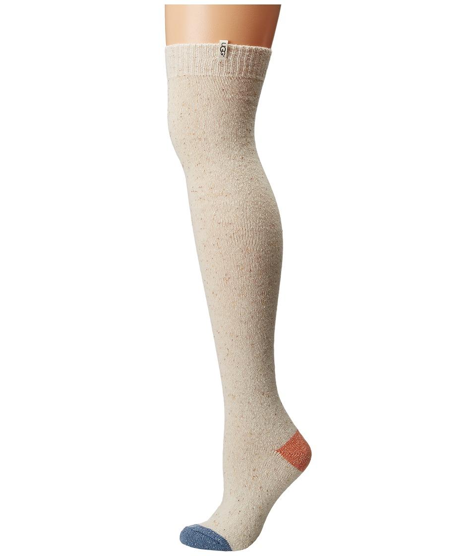 UGG Color Block Rib Over the Knee Socks Freshwater Pearl Womens Knee High Socks Shoes