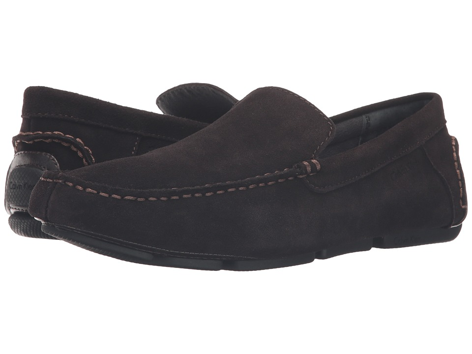 Calvin Klein - Menton (Dark Brown Suede) Men's Slip on Shoes