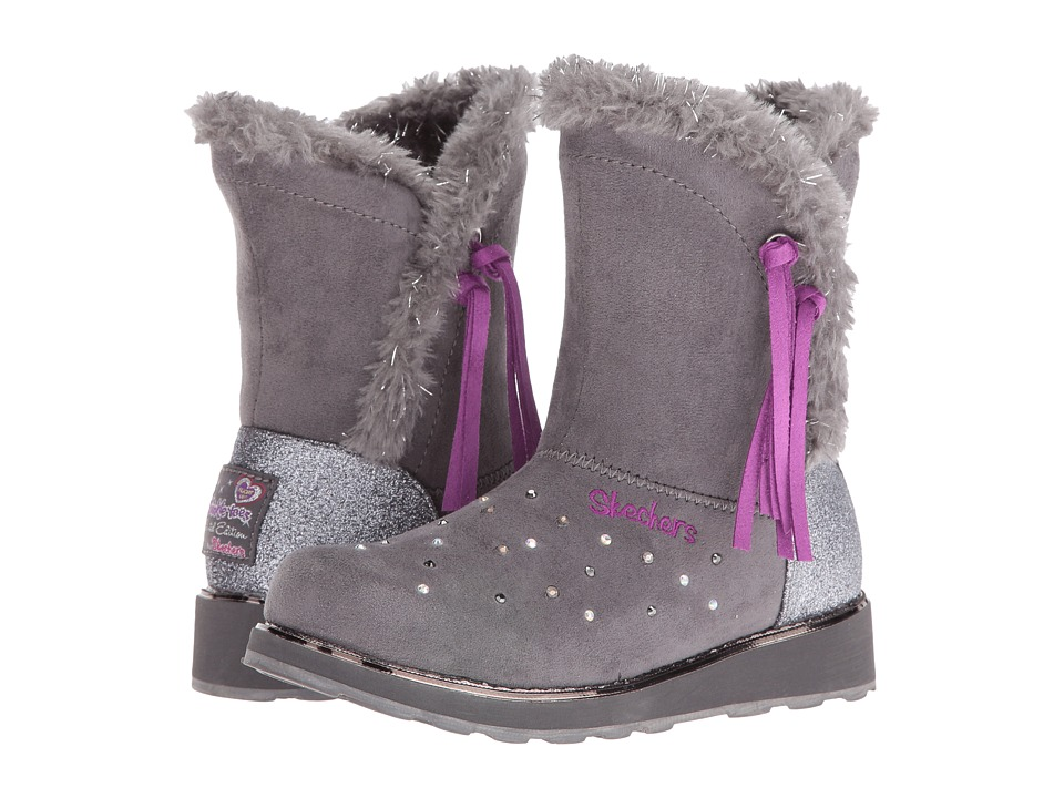 SKECHERS KIDS - Twinkle Toes - Sparkle Spell 10663L Lights (Little Kid/Big Kid) (Charcoal/Purple) Girl's Shoes