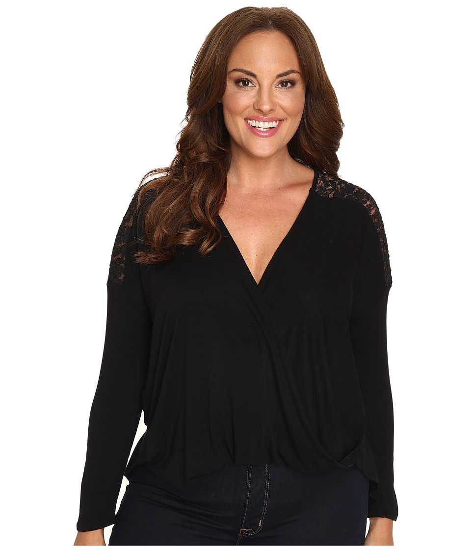 Christin Michaels - Plus Size Cora Twist Front Top with Lace Detail (Black) Women's Clothing