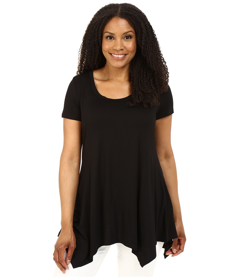 Christin Michaels - Plus Size Joselyn Short Sleeve Top (Black) Women's Clothing