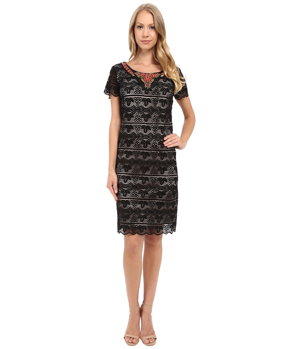 Sangria - Short Sleeve Lace Shift with Embellished Neck (Black/Stone) Women's Dress