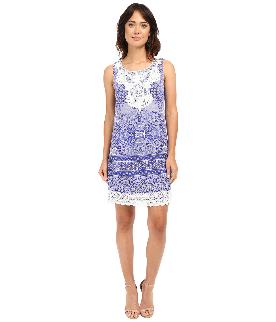 Sangria - Printed Crepe De Chine Shift with Crochet Neck and Hem (Multi) Women's Dress