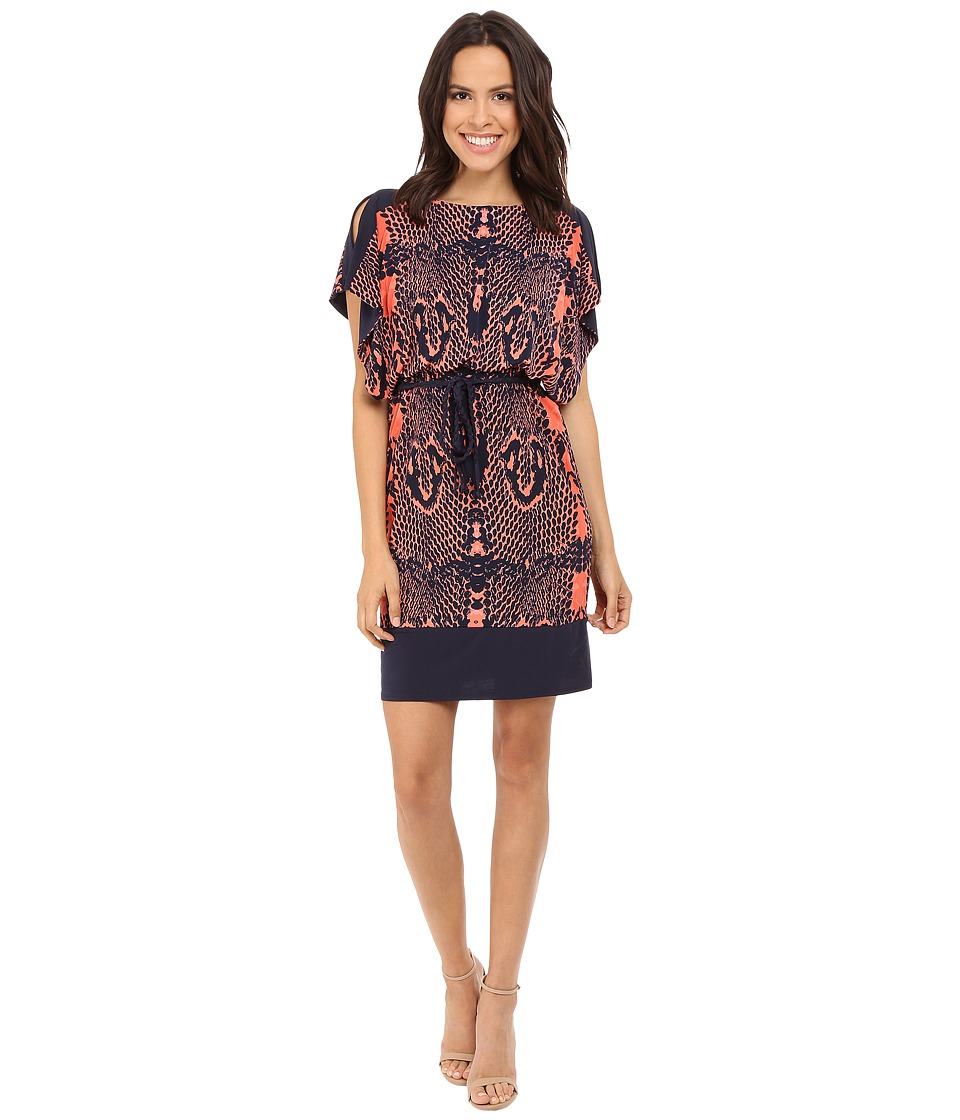 Sangria - Dolman Sleeve Snake Print Blouson Shift (Orange/Multi) Women's Dress