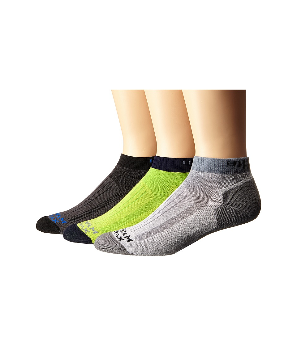 Wigwam - Merino Rigge Runner Pro Low 3-Pack (Grey/Lime Macaw/Charcoal) Crew Cut Socks Shoes