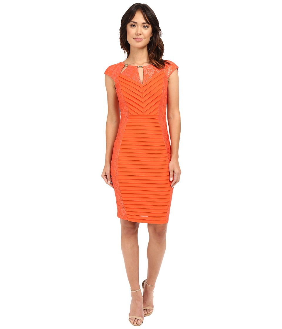 Sangria - Cap Sleeve Lace and Shutter Pleat Sheath with Cut Out Neck (Mandarin) Women's Dress