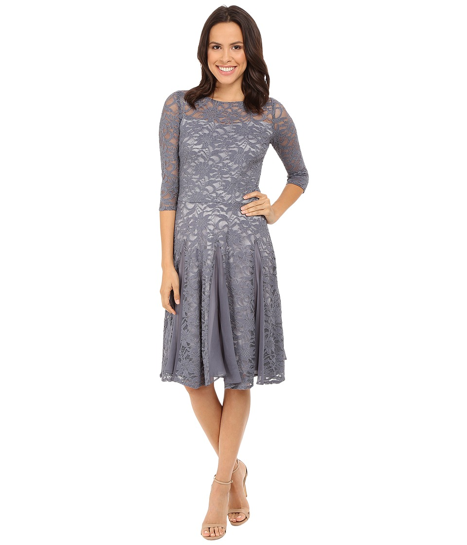 Sangria - 3/4 Sleeve Lace Fit and Flare with Godet Hem (Graphite) Women's Dress