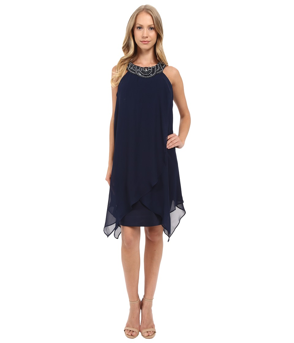 Sangria - Chiffon Fly Away Sheath with Embellished Neck Line (Navy) Women's Dress