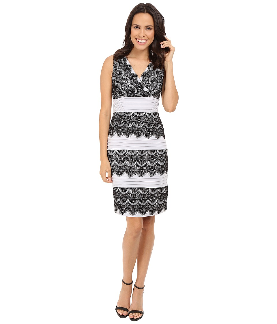 Sangria - V-Neck Shutter Pleat and Lace Tiered Sheath (Black/Sterling) Women's Dress