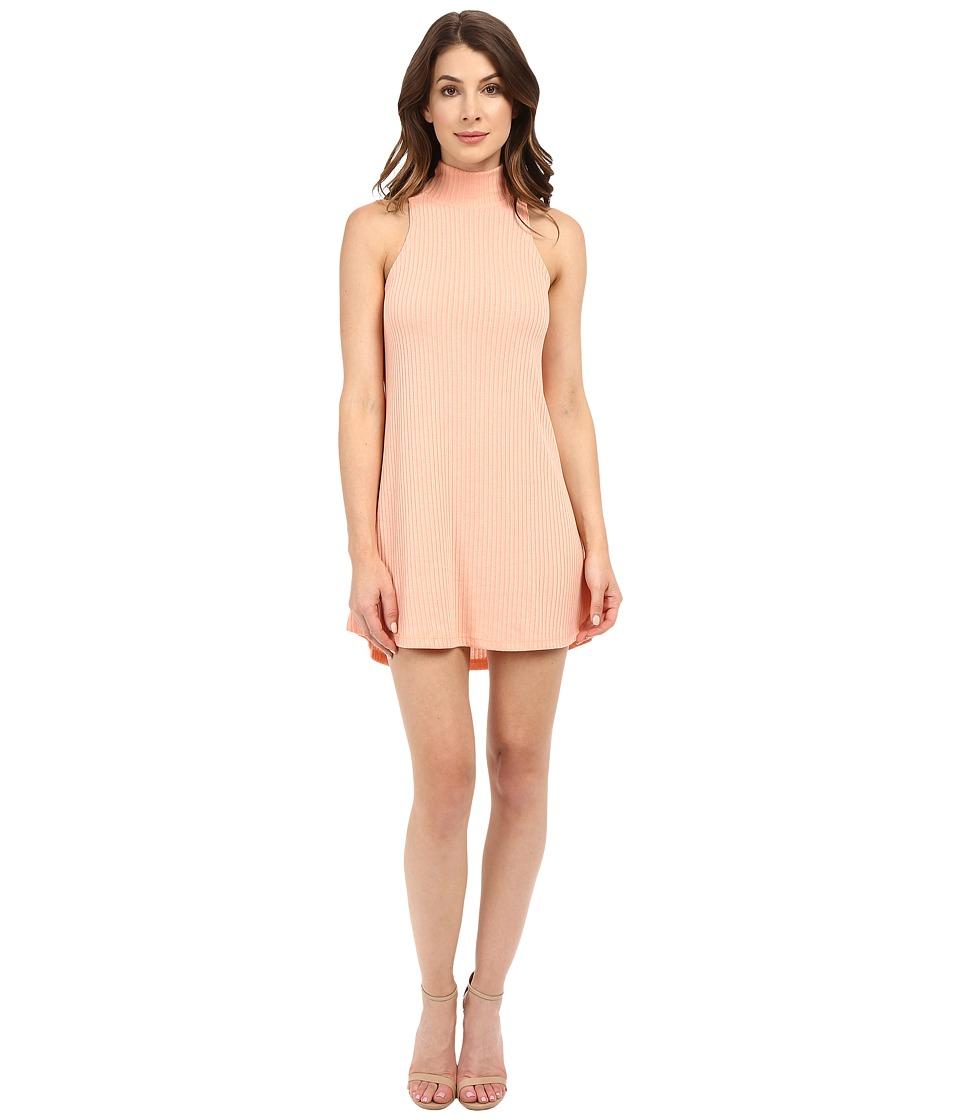Culture Phit - Atarah Turtleneck Sleeveless Ribbed Dress (Peach) Women's Dress