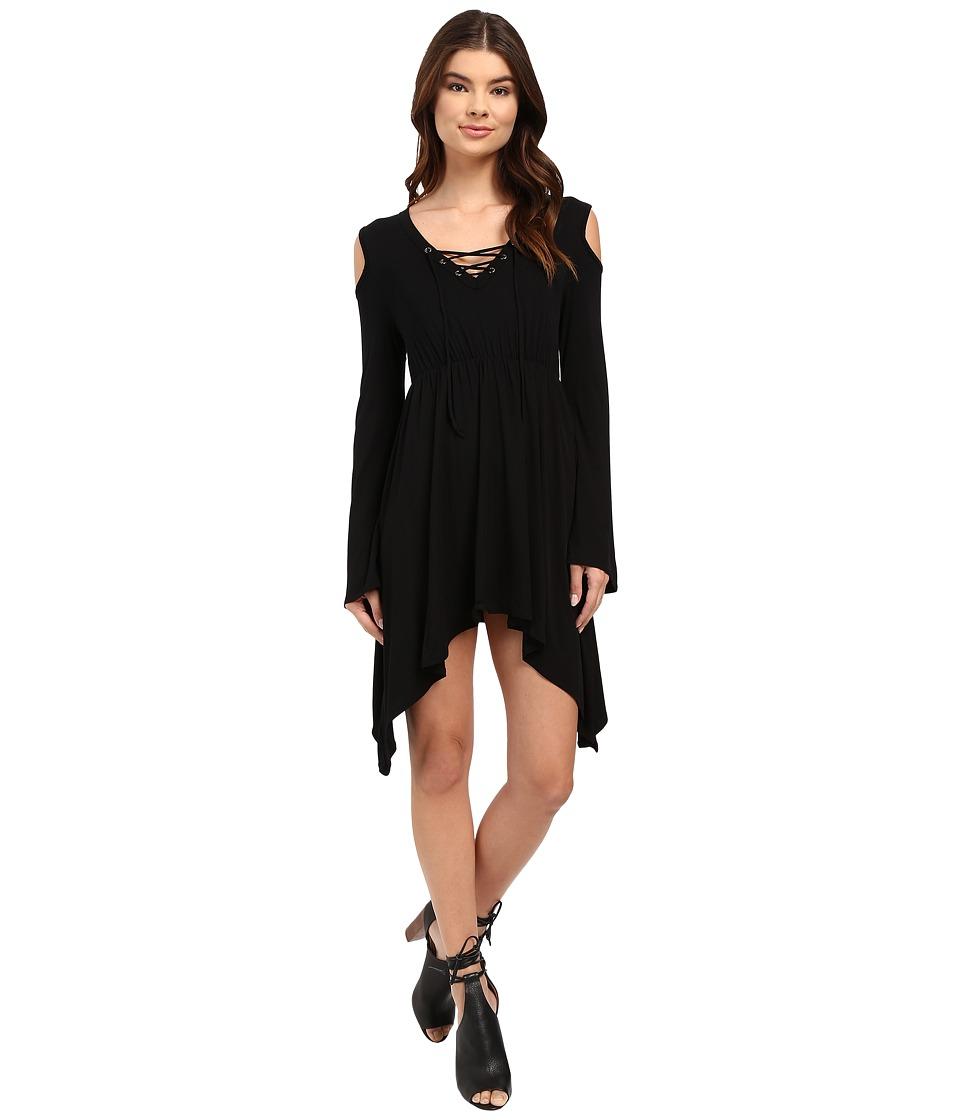 Culture Phit - Junia Front Tie Cold Shoulder Top (Black) Women's Clothing